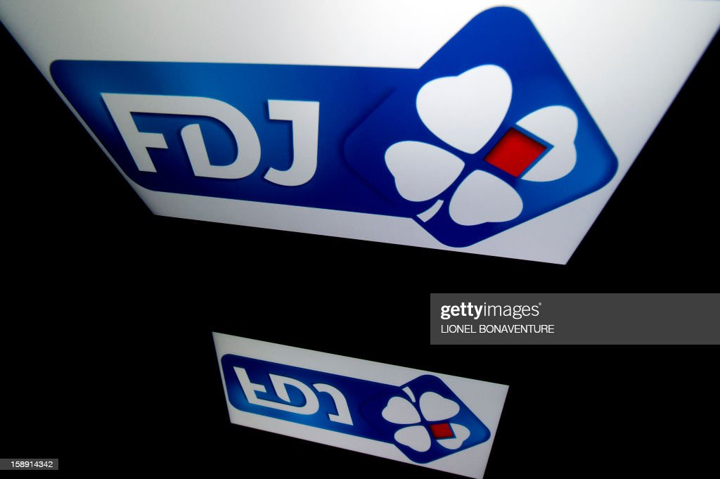 The Française des jeux (FDJ) logo is displayed on a tablet on January 3, 2013 in Paris. The Française des Jeux (FDJ), the operator of France's national lottery games, announced on January 3, 2013 that its turnover increased by 6,1% to reach 12,1 billion of euros in 2012.