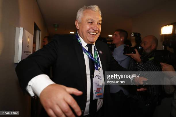 The France 2023 bid chairman Claude Atcher celebrates after France were annouced as the host nation for the 2023 Rugby World Cup during the Rugby...