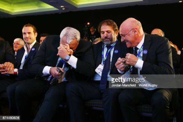 The France bid team celebrate after being annouced as the host nation for the 2023 Rugby World Cup during the Rugby World Cup 2023 Host Decision at...