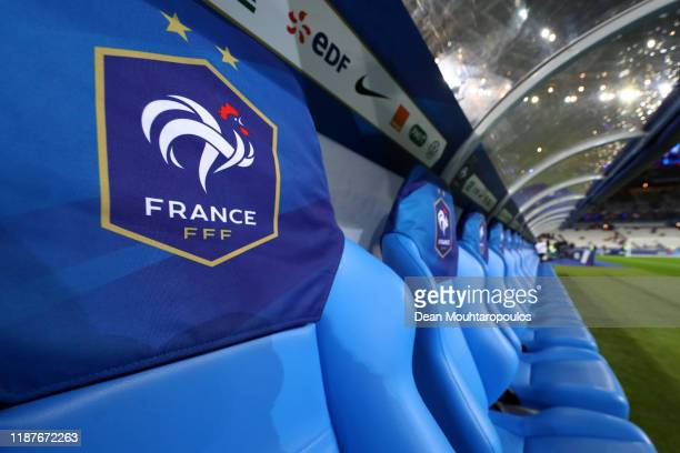 The France crest is seen on a seat on the bench prior to the UEFA Euro 2020 Qualifier between France and Moldova on November 14 2019 in Paris France