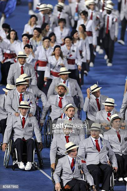 The France delegation parades during the 2008 Beijing Paralympic Games opening ceremony at the National Stadium better known as the Bird's Nest in...