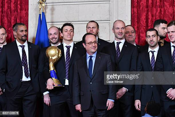 The France handball team who have just won the World Championships meet with French president Francois Hollande at Elysee Palace on January 30 2017...