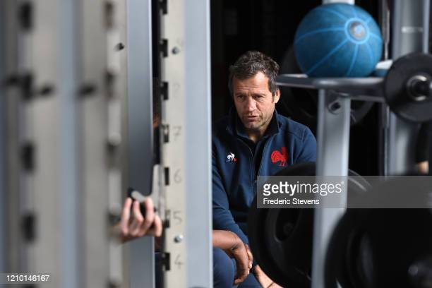 The France head coach Fabien Galthie during the National Rugby Center squad training at the Sportsground before the Nat West Six Nations match...