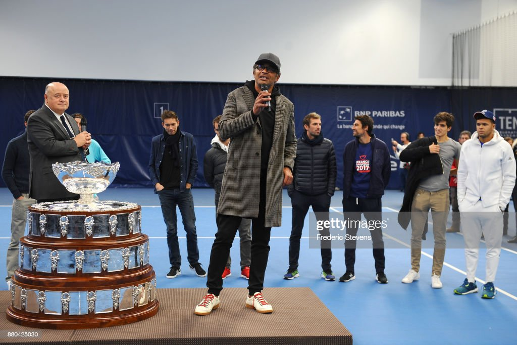 The france head coach Yannick Noah poses with the Davis Cup after victory over Belgium at the weekend in Villeneuve d'Ascq, on November 27, 2017 in Paris, France.