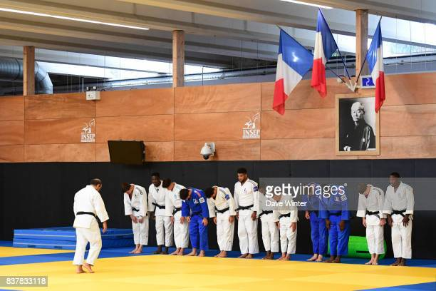 The France men junior team during the training session and press conference media day of the France judo team at INSEP on August 23, 2017 in...