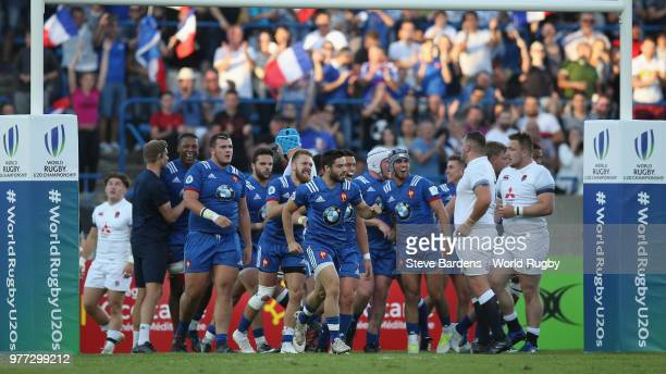 The France players celebrate the try scored by Adrien Seguret during the World Rugby Under 20 Championship Final between England and France at the...