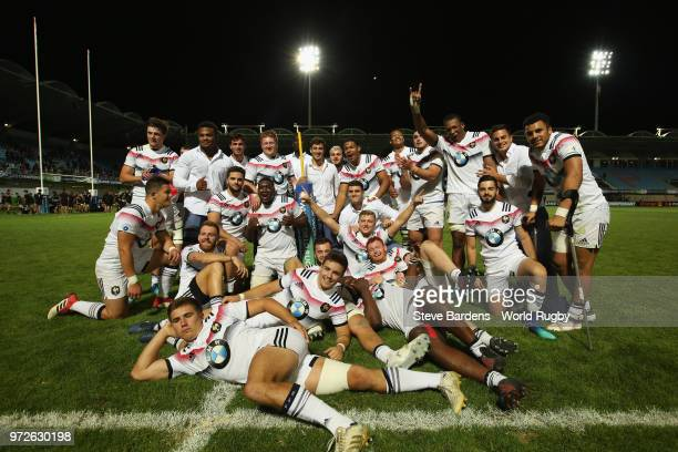 The France players celebrate their victory over New Zealand after the semi final match between New Zealand and France at Stade Aime-Giral on June 12,...
