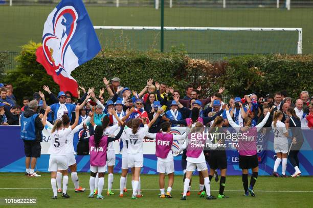 The France players celebrate with their supporters after the FIFA U20 Women's World Cup France 2018 group A match between Netherlands and France at...