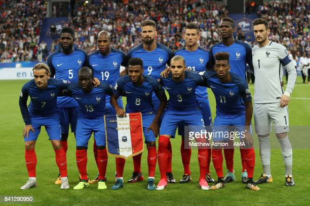 The France players line up for a team photo prior to the FIFA 2018 World Cup Qualifier match between France and The Netherlands at Stade de France on...