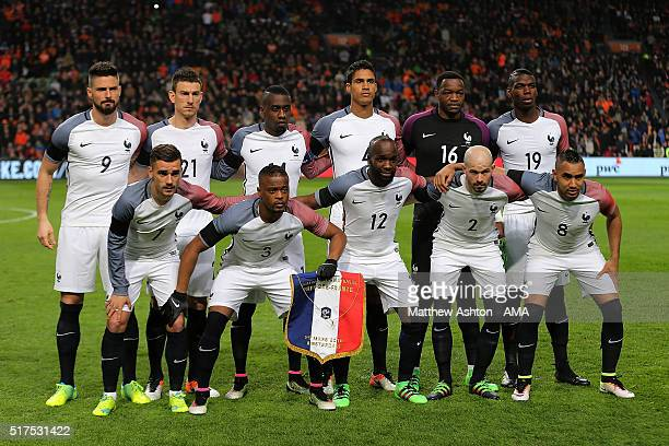 The France players line up for a team photo prior to the International Friendly match between Netherlands and France at Amsterdam Arena on March 25...