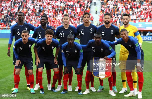 The France players pose for a team photo prior to the 2018 FIFA World Cup Russia group C match between France and Peru at Ekaterinburg Arena on June...