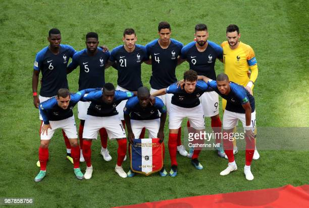 The France players pose for a team photo prior to the 2018 FIFA World Cup Russia Round of 16 match between France and Argentina at Kazan Arena on...