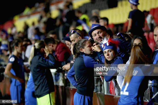 The France players speak with fans after the UEFA Women's Euro 2017 Quarter Final match between France and England at Stadion De Adelaarshorst on...