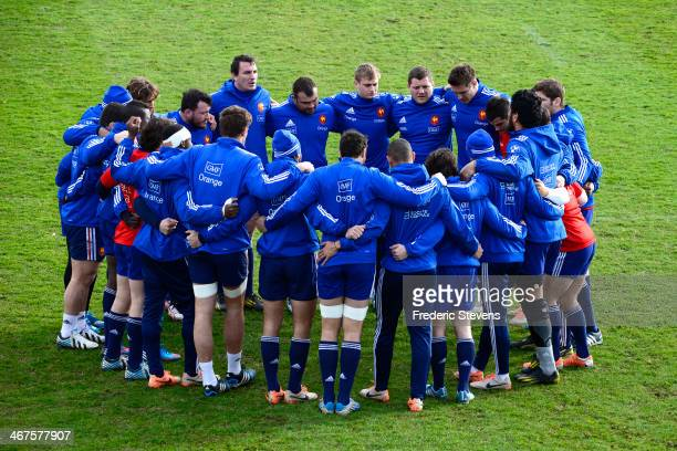 The France Rugby national team embrace during the training session in Marcoussis on February 7 2014 in Paris France