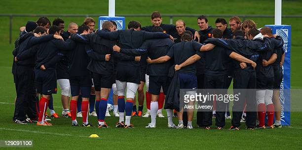 The France squad huddle up during a France IRB Rugby World Cup 2011 training session at Onewa Domain on October 13 2011 in Takapuna New Zealand