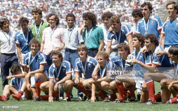 The France Squad pose with their bronze medals after the FIFA World Cup 3rd/4th place playoff at the Estadio Cuauhtemoc in Puebla 28th June 1986...