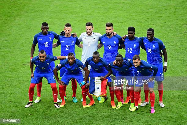 The France team before the European Championship Final between Portugal and France at Stade de France on July 10 2016 in Paris France
