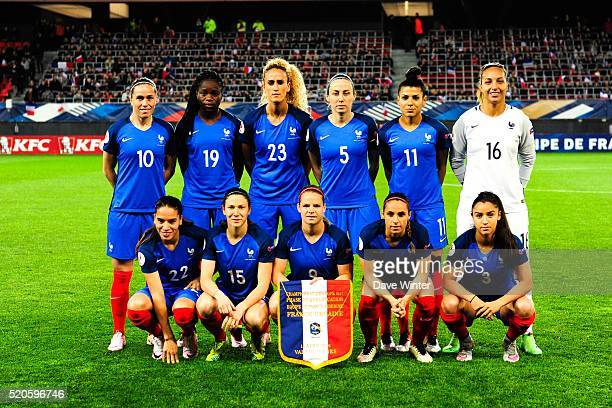 The France team before the UEFA Women's Euro 2017 qualifying match between France and Ukraine at Stade du Hainaut on April 11 2016 in Valenciennes...