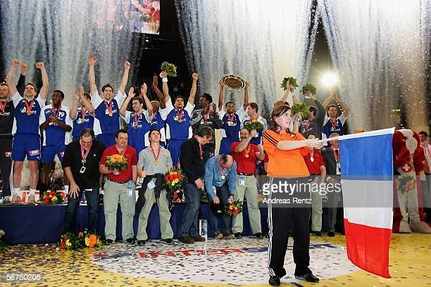 The France team celebrate their win against Spain during the European handball championships final between Spain and France at the Hallen Stadium on...