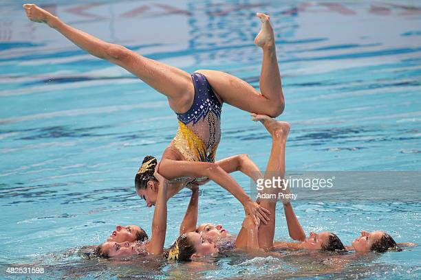 The France team compete in the Women's Team Free Synchronised Swimming Final on day seven of the 16th FINA World Championships at the Kazan Arena on...
