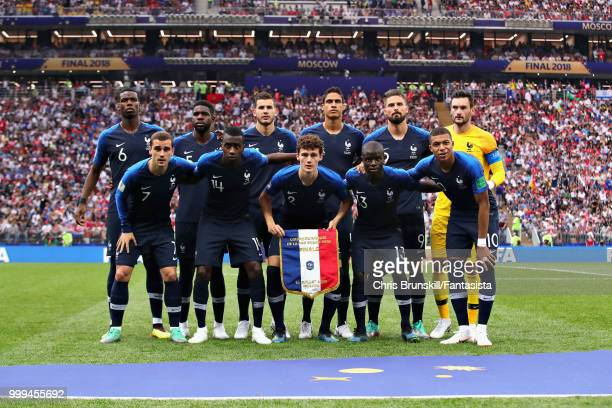 The France team line up before the 2018 FIFA World Cup Russia Final between France and Croatia at Luzhniki Stadium on July 15 2018 in Moscow Russia