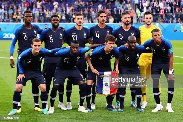 The France team line up before the 2018 FIFA World Cup Russia Semi Final match between Belgium and France at Saint Petersburg Stadium on July 10 2018...
