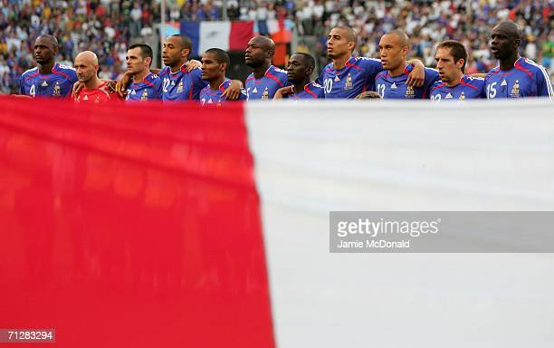 The France team line up during the FIFA World Cup Germany 2006 Group G match between Togo and France at the Stadium Cologne on June 23 2006 in...