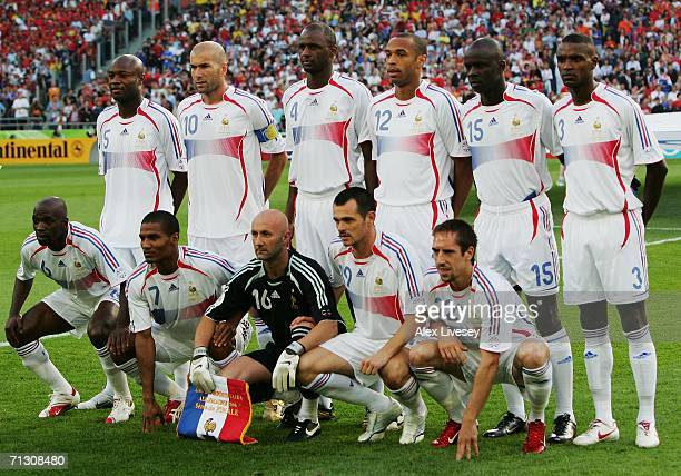 The France team line up for a group photo prior to the FIFA World Cup Germany 2006 Round of 16 match between Spain and France played at the Stadium...