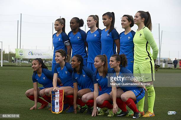 The France team line up for a photo prior to kick off during the international friendly match between U17 Girl's Germany and U17 Girl's France at...