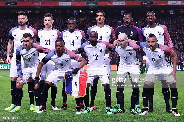 The France team line up prior to the International Friendly match between Netherlands and France at Amsterdam Arena on March 25 2016 in Amsterdam...