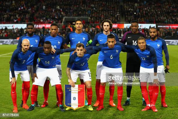 The France team line up prior to the international friendly match between Germany and France at RheinEnergieStadion on November 14 2017 in Cologne...