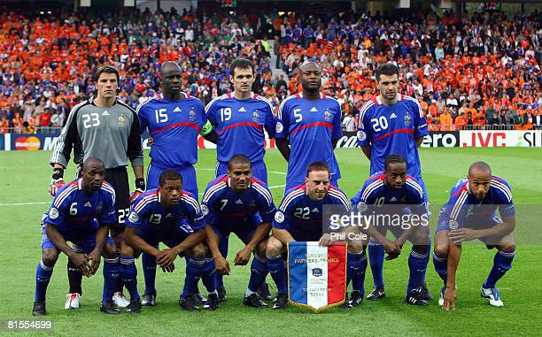 The France team line up prior to the UEFA EURO 2008 Group C match between Netherlands and France at Stade de Suisse Wankdorf on June 13 2008 in Berne...