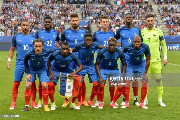 The France team lines up before the soccer friendly match between France and Paraguay at Roazhon Park on June 2 2017 in Rennes France