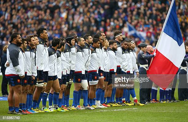 The France team sing the national anthem prior to kickoff during the RBS Six Nations match between Scotland and France at Murrayfield Stadium on...