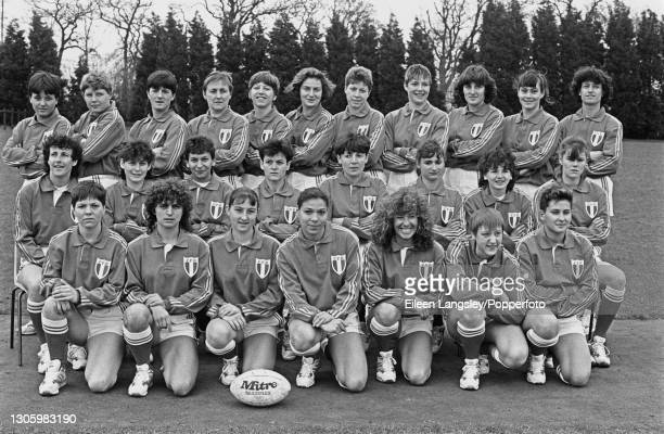 The France team squad posed together on the first day of competition in the 1991 Women's Rugby World Cup in Cardiff, Wales on 6th April 1991. Members...