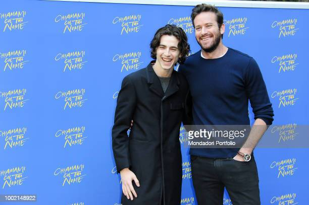 The Franch actor Timothée Chalamet and the American actor Armie Hammer at the photocall of the Chiamami col tuo nome at the Hotel De Russie Rome...
