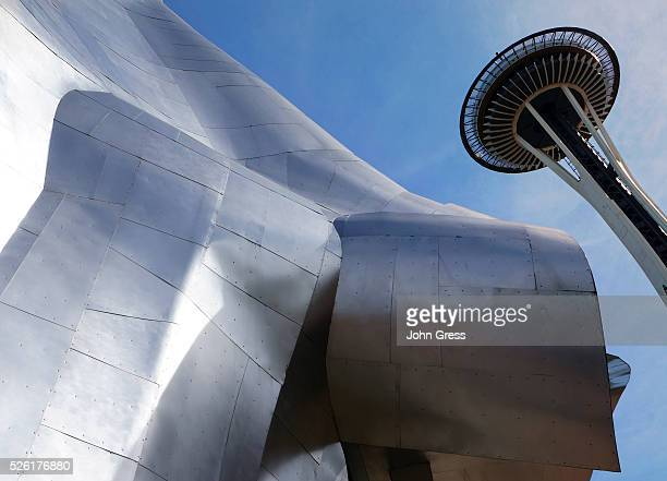 The Frank Gehry designed EMP museum and the Space needle as seen in Seattle, September 5, 2012.