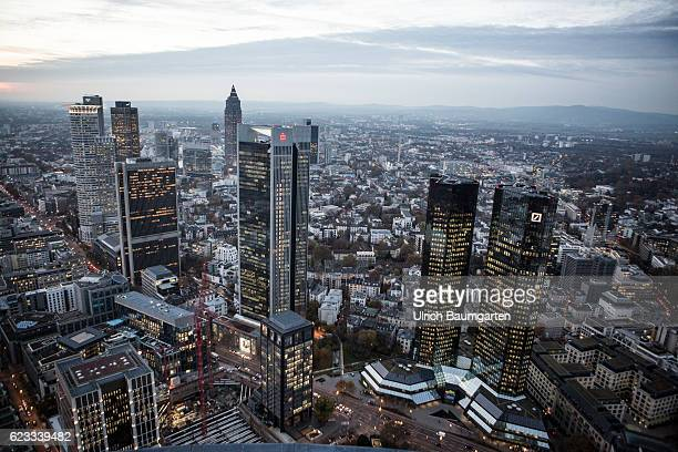 The Frankfurt banking district in the Blue Hour On the right the head office of Deutsche Bank AG