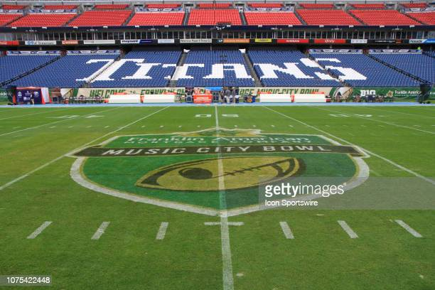 The Franklin American Mortgage Music City Bowl logo at midfield prior to the 2018 Franklin American Mortgage Bowl between the Auburn Tigers and...