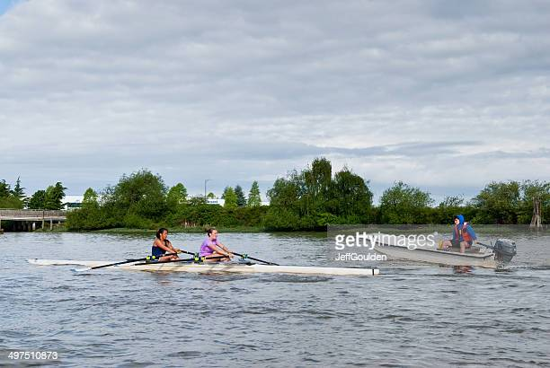 Coaching a Double Scull on the Fraser River