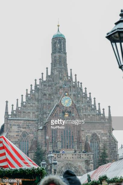 The Frauenkirche in Nuremberg The worldfamous Christmas Market of Nuremberg was full of people even if there was heavy snowfall and cold