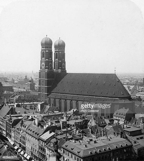 The Frauenkirche Munich Germany c1900 The Cathedral of Our Blessed Lady seen from the nearby Peterskirche's Tower Stereoscopic card