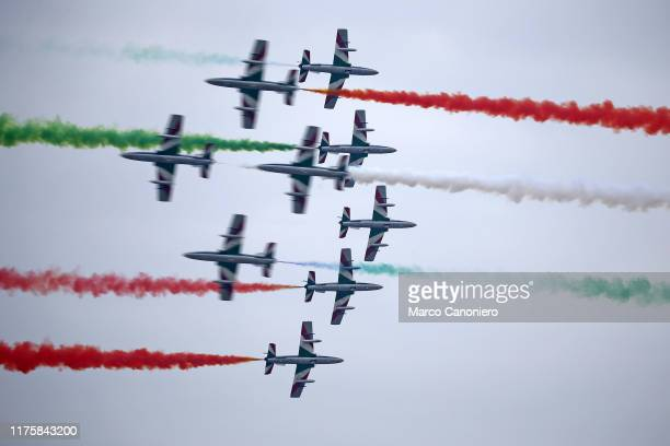 The Frecce Tricolori air squadron performs during the Linate Air Show 2019.