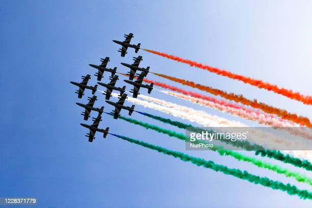 The Frecce Tricolori in flight for the recognition while waiting for the performance for the FIA Formula One World Championship at the Monza Circuit,...