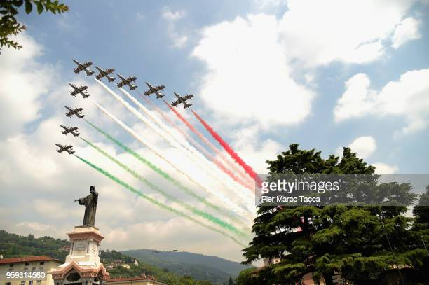 The Frecce tricolori perform during the 1000 Miles Historic Road Race on May 16 2018 in Brescia Italy