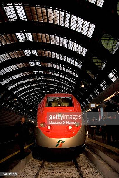 The Frecciarossa train the new high speed link between Milan and Bologna waits for departure at the Central Station on December 13 2008 in Milan...