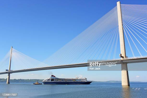 The Fred Olsen Cruise Lines ship Braemar passes under the Queensferry Crossing road bridge en route to Rosyth Basin where she and three sister ships...