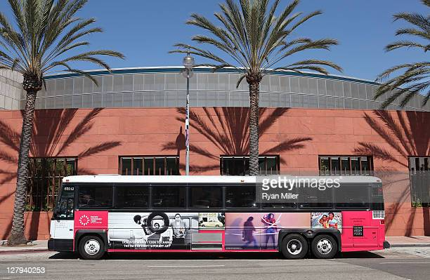 The free shuttles during the Pacific Standard Time: Art in LA 1945-1980 free day activities at the Geffen Center on October 2, 2011 in Los Angeles,...
