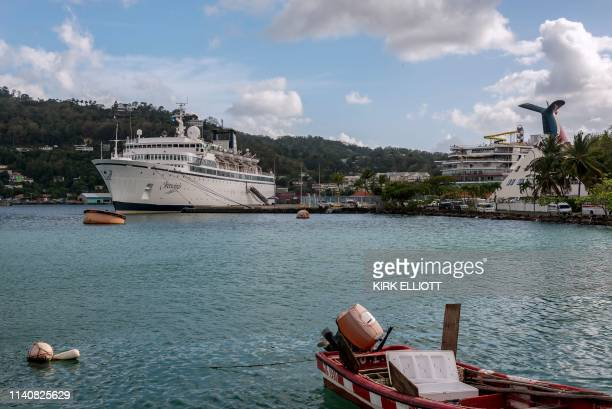 The Freewinds cruise ship owned by the Church of Scientology is seen docked in quarantine at the Point Seraphine terminal in Castries Saint Lucia on...