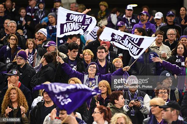The Fremantle crowd celebrate the win during the round eight AFL match between the Fremantle Dockers and the North Melbourne Kangaroos at Domain...